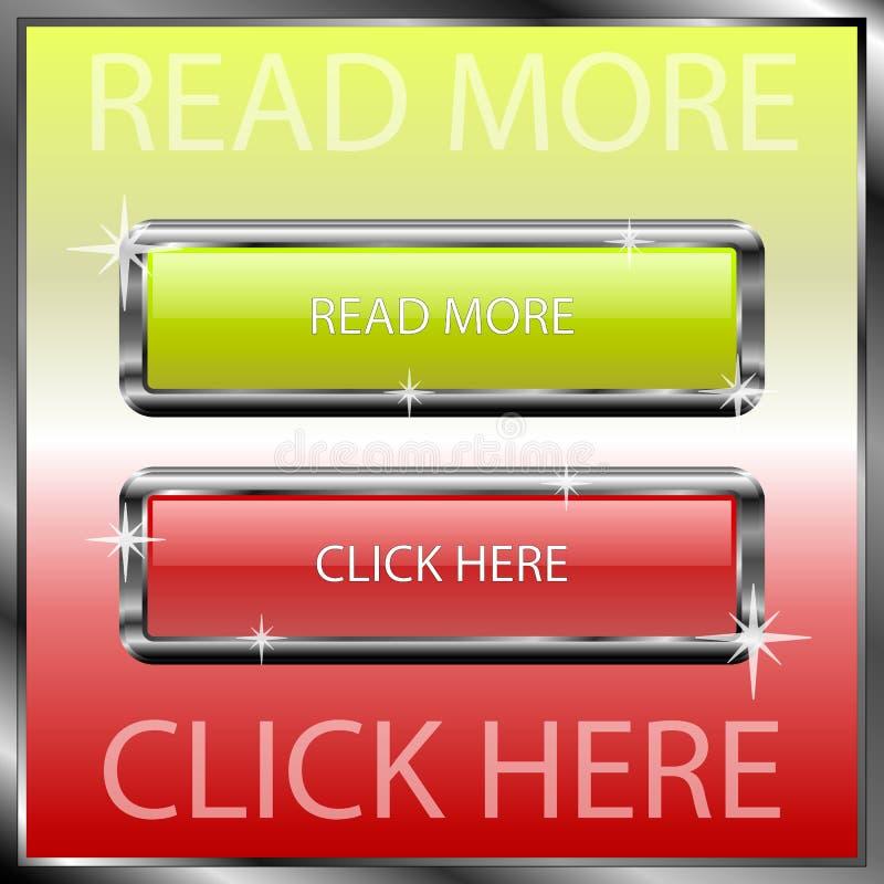 Le lire la suite et le cliquez ici se boutonne sur une surface réfléchie de couleur illustration de vecteur