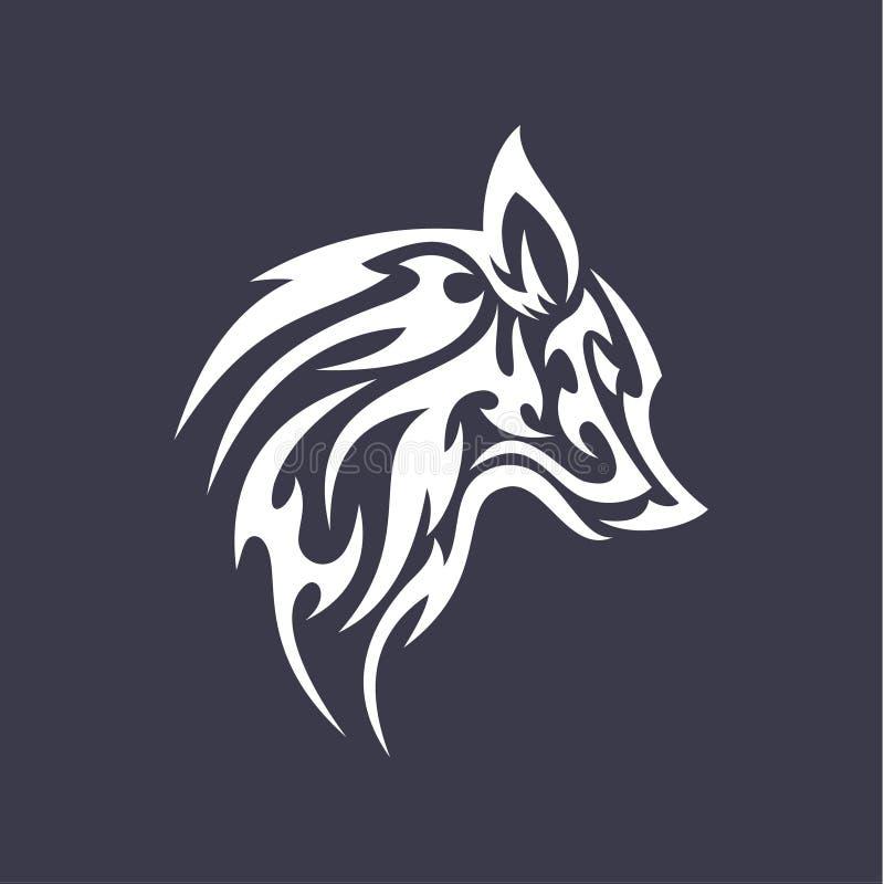Le lissoir plat de vecteur de conception de logo de style de tatouage de loup a stylisé les logos animaux d'icônes illustration de vecteur