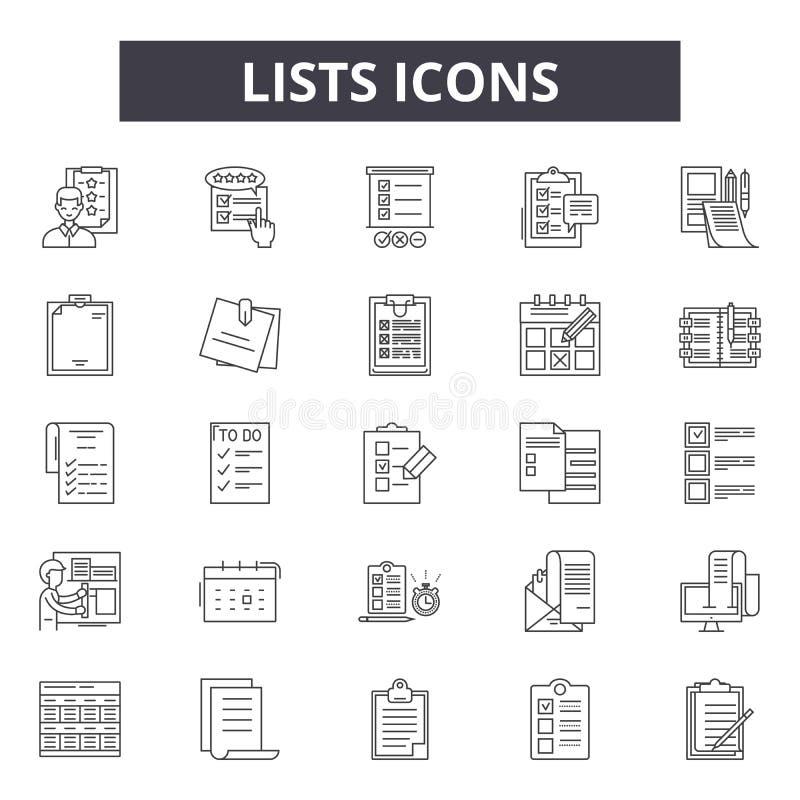 Le liste allineano le icone per il web e la progettazione mobile Segni editabili del colpo Le liste descrivono le illustrazioni d illustrazione di stock