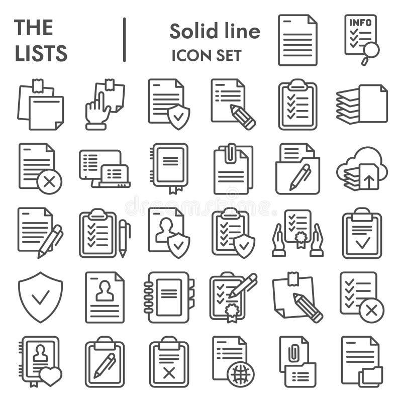 Le liste allineano l'insieme dell'icona, simboli raccolta, schizzi di vettore, illustrazioni di logo, pittogrammi lineari dei doc royalty illustrazione gratis