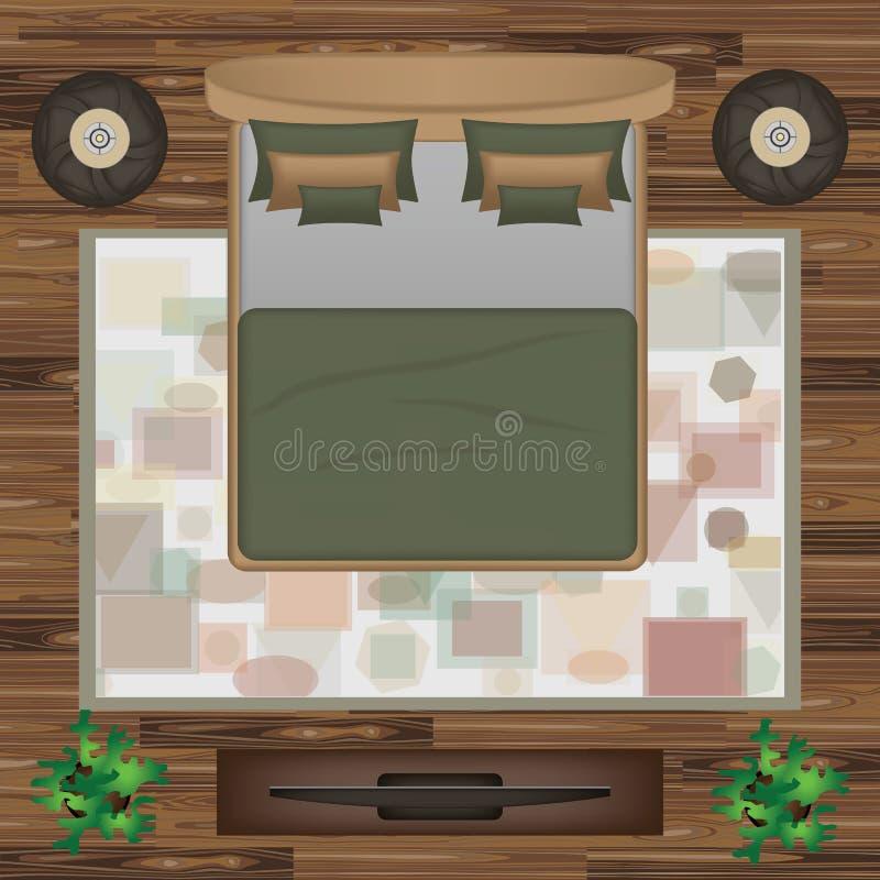 Le lit, oreillers, tapis, pouf, plante l'illustration de vecteur Meubles de chambre à coucher réglés pour la conception intérieur illustration libre de droits