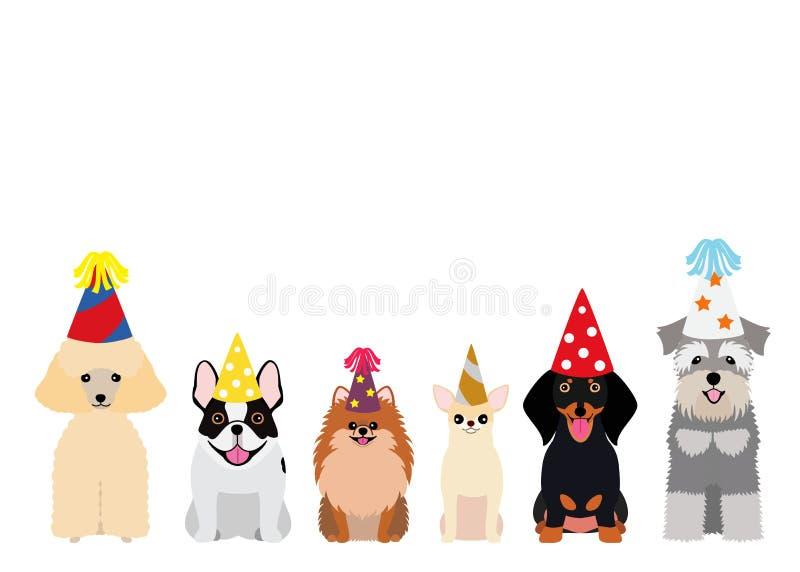 Le liten hundkapplöpning med partihatten royaltyfri illustrationer
