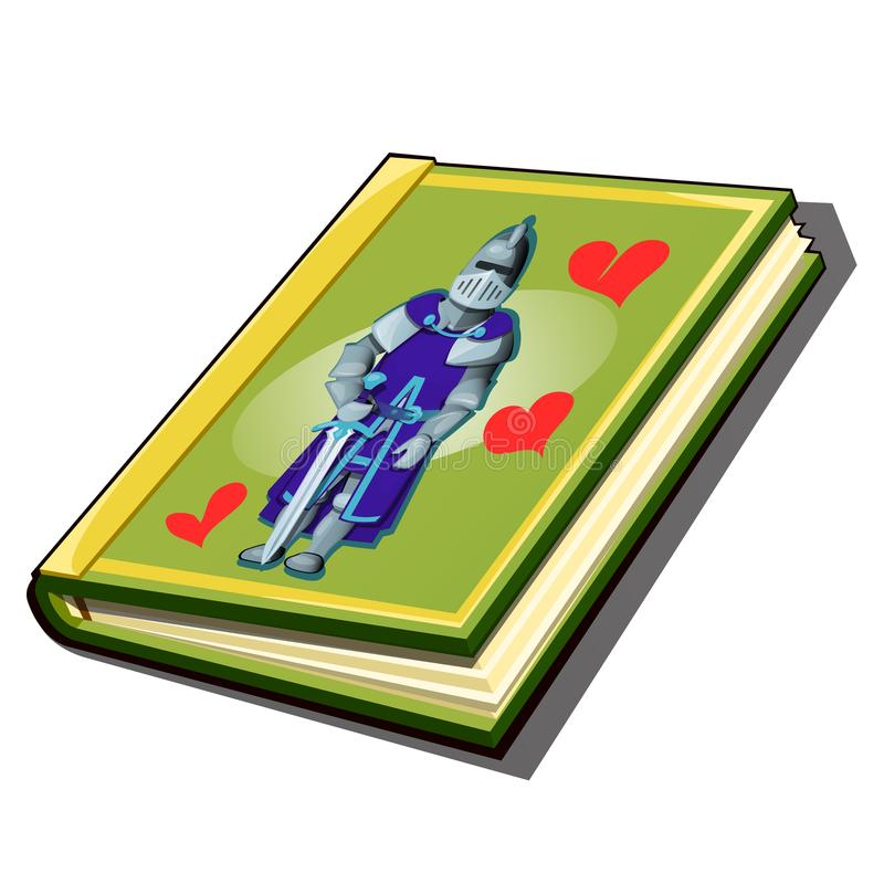 Le livre avec la couverture avec une photo d'un chevalier d'isolement sur le fond blanc Roman roman antique Vecteur illustration stock