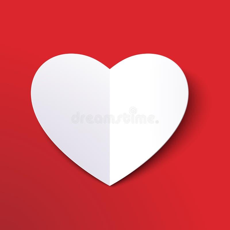 Le livre blanc a coupé le coeur d'amour pour le jour du ` s de Valentine ou toutes les autres cartes d'invitation d'amour ENV 10 illustration de vecteur