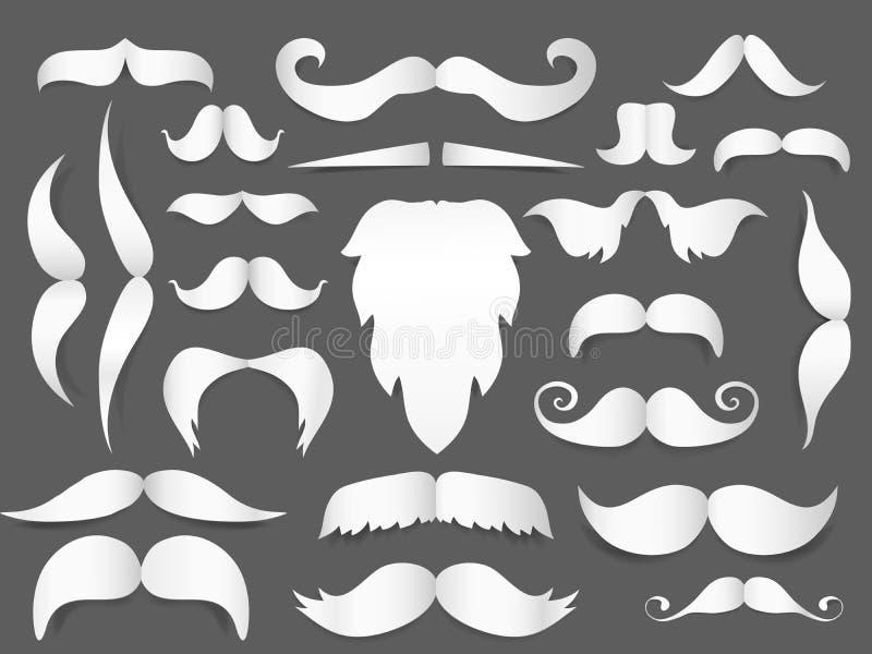 Le livre blanc a coupé la moustache et la barbe de style avec l'ombre sur le fond gris Masque de Noël ou décoration de movember illustration stock
