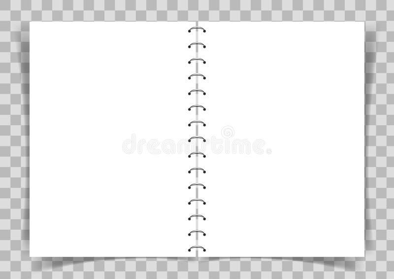 Le livre de papier blanc s'est relié à la spirale sur le fond transparent illustration stock