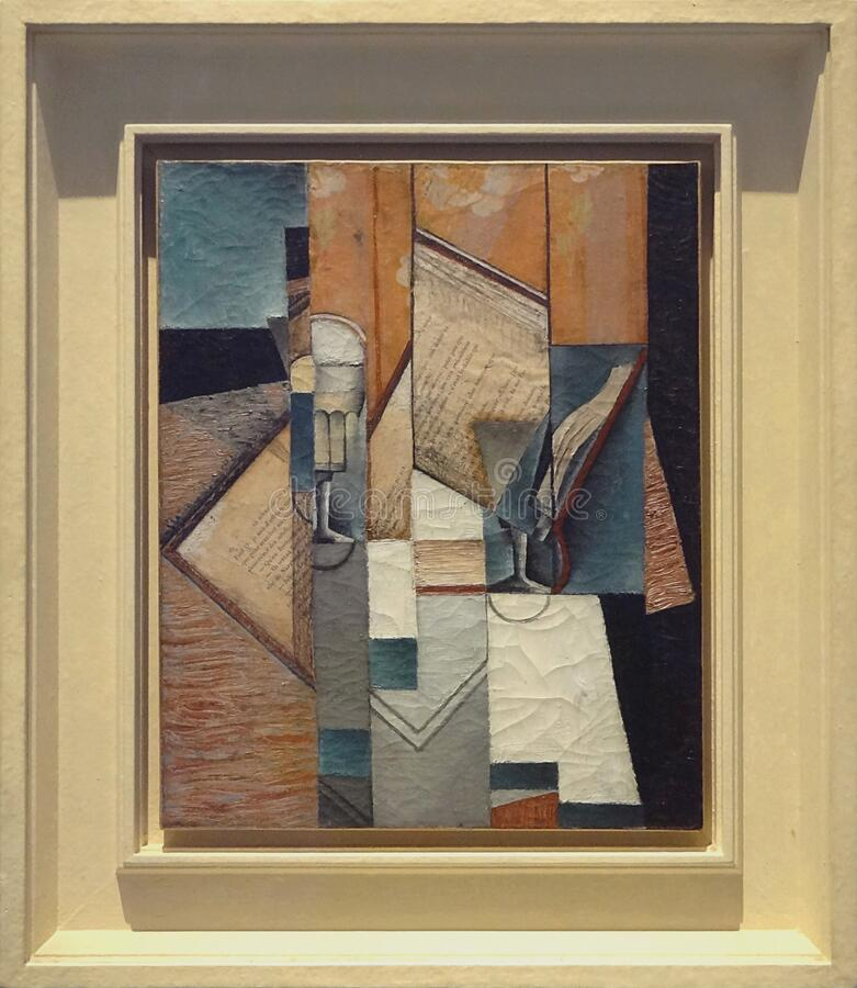 ' Le livre' , Juan Gris, 1913 Musée d' Arte de moderno la ville de Paris, palais de Tóquio fotos de stock