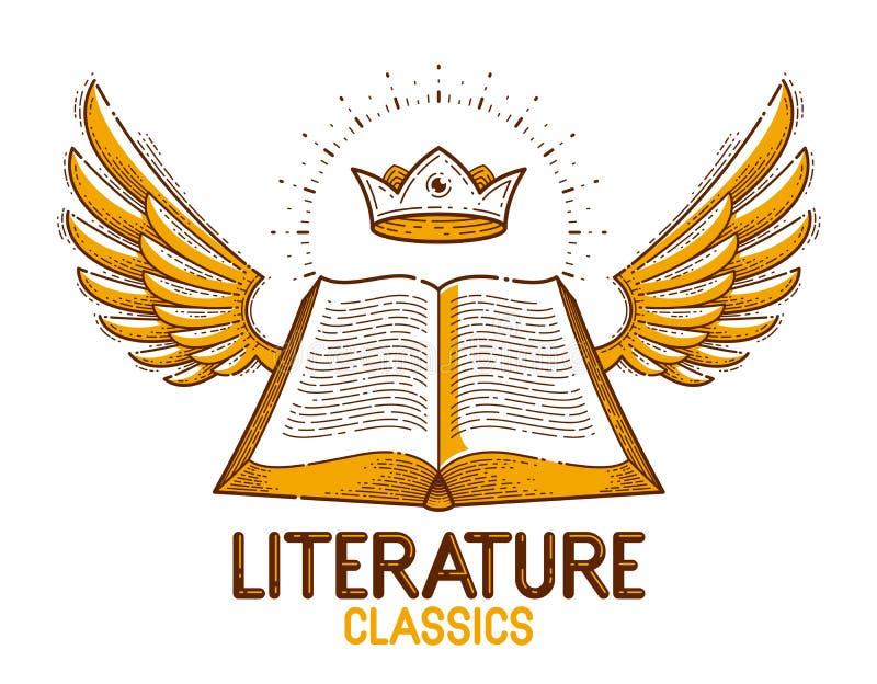 Le livre ouvert de cru avec des ailes dirigent l'élément de conception graphique, le thème de littérature et de lecture, le logo  illustration de vecteur