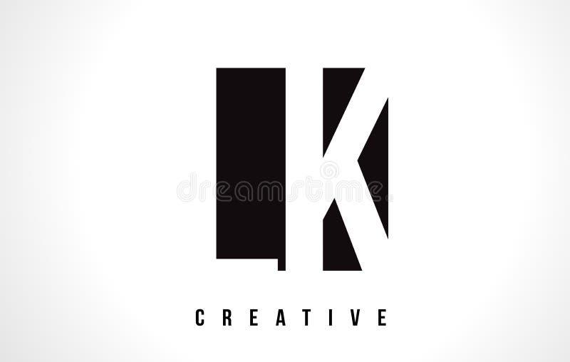 Le LK L lettre blanche Logo Design de K avec la place noire illustration libre de droits