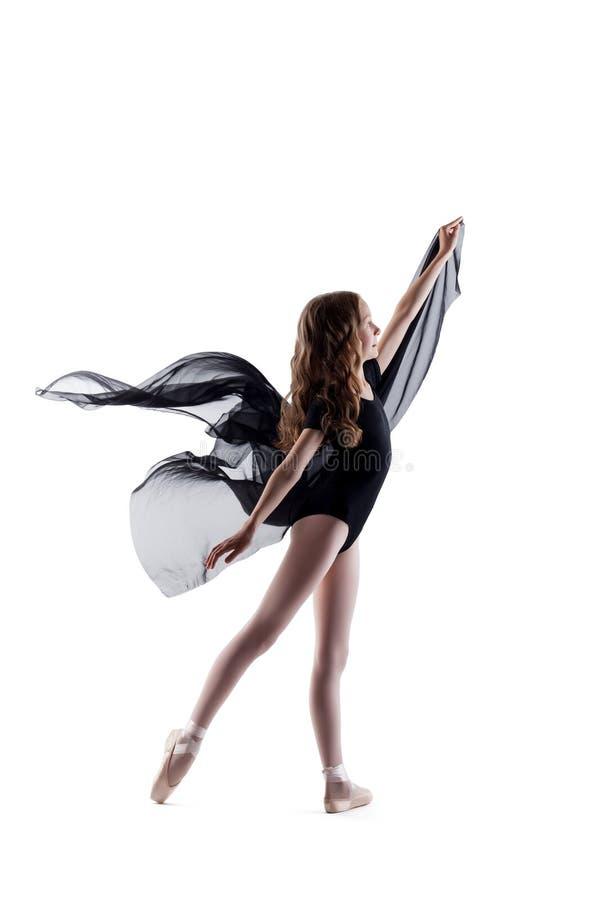 Le lockig ballerinadans med torkduken royaltyfri bild