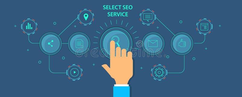 Le logiciel de Seo a automatisé le programme de commercialisation pour l'optimisation de site Web Bannière plate de vecteur de co illustration stock