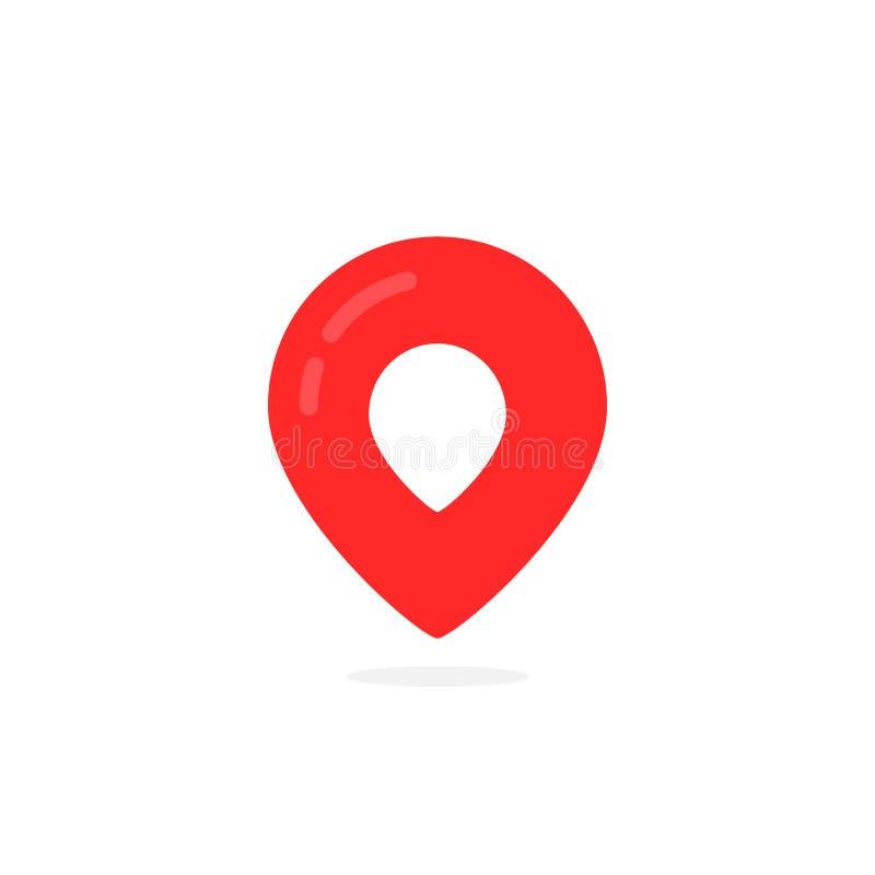 Le logo abstrait de geotag et la carte rouge goupillent l'icône illustration libre de droits