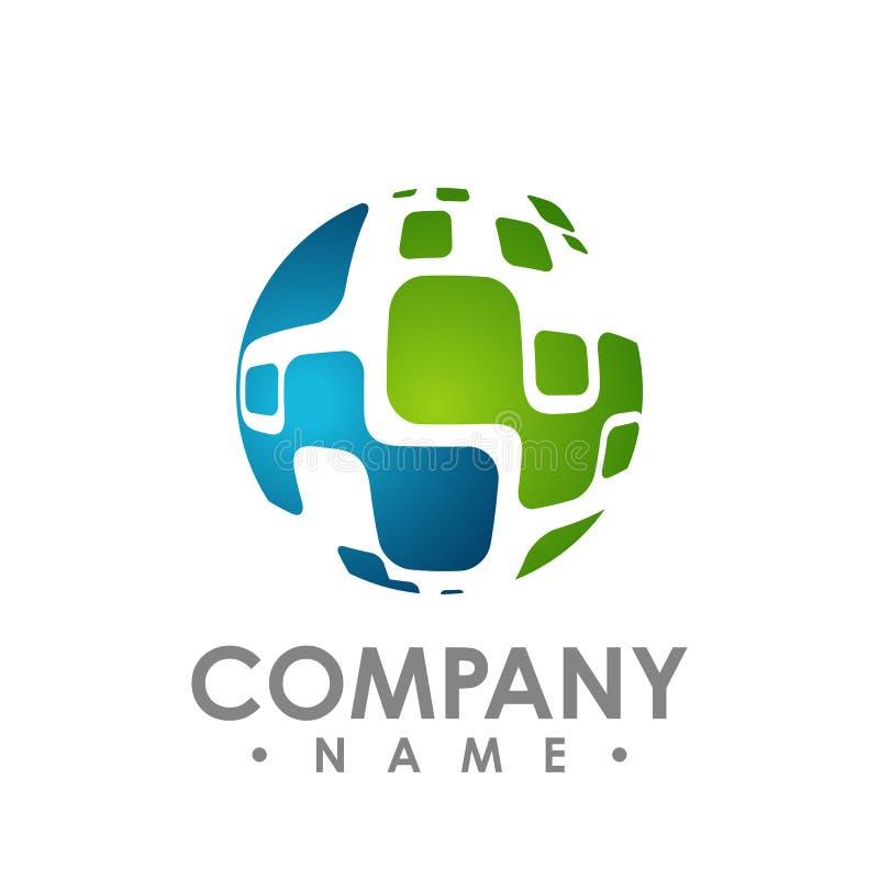Le logo abstrait de technologie de réseau de cercle, dirigent le résumé unique illustration libre de droits
