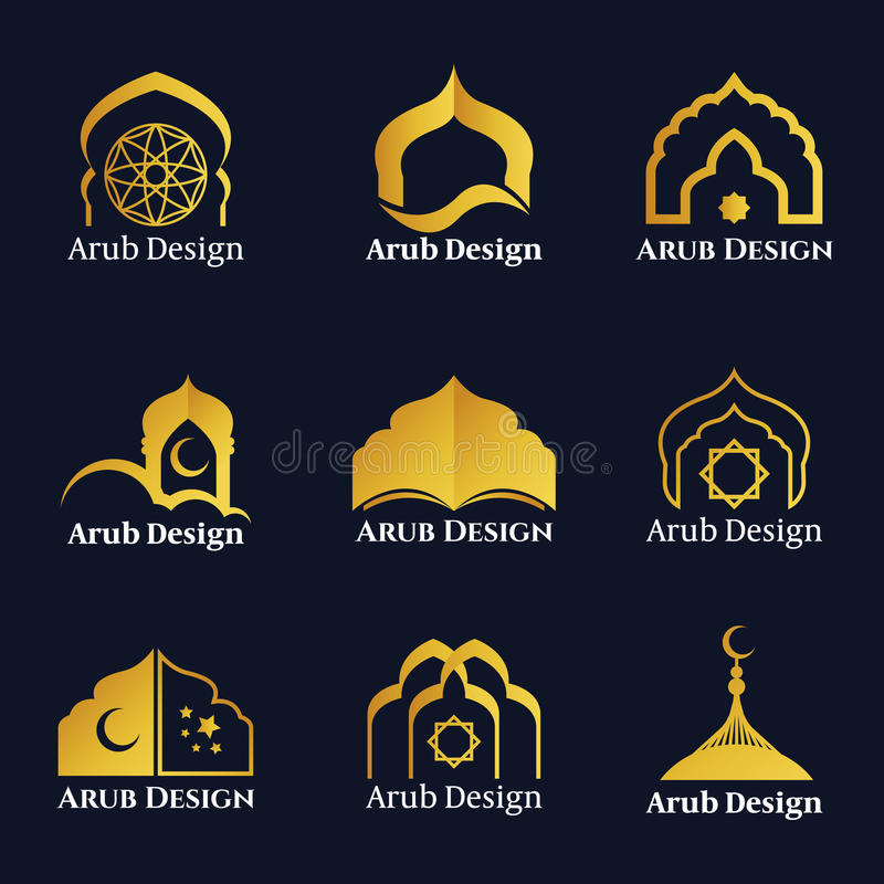 Le logo arabe de fenêtres et de portes d'or dirigent la scénographie illustration stock
