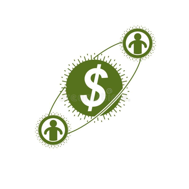 Le logo conceptuel de système financier global, symbole unique de vecteur illustration stock
