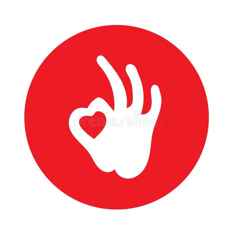 Le logo créatif d'abrégé sur forme de main et de coeur conçoivent Icône correcte de symbole de main Symbole heureux de jour de va illustration libre de droits