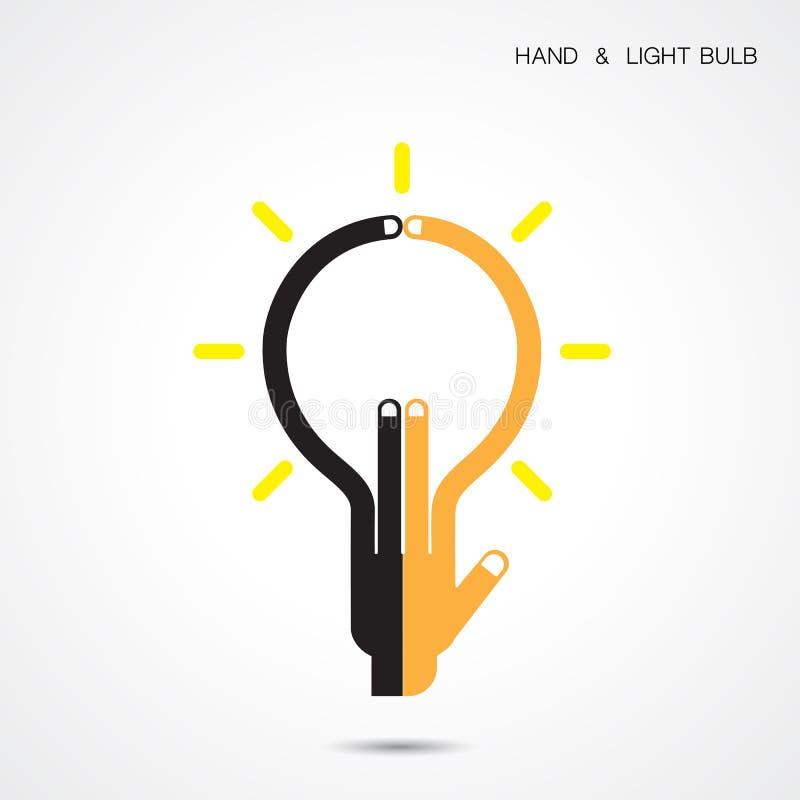 Le logo créatif d'abrégé sur icône d'ampoule et de main conçoivent le te de vecteur illustration de vecteur