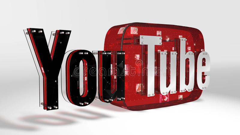 Le logo 3D de la marque Youtube photos libres de droits