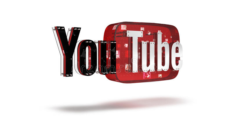 Le logo 3D de la marque Youtube photo stock