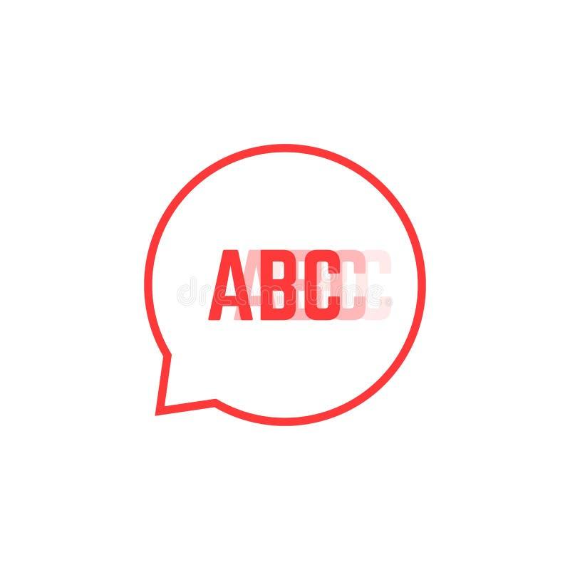 Le logo de bégaiement rouge aiment la bulle de la parole illustration stock