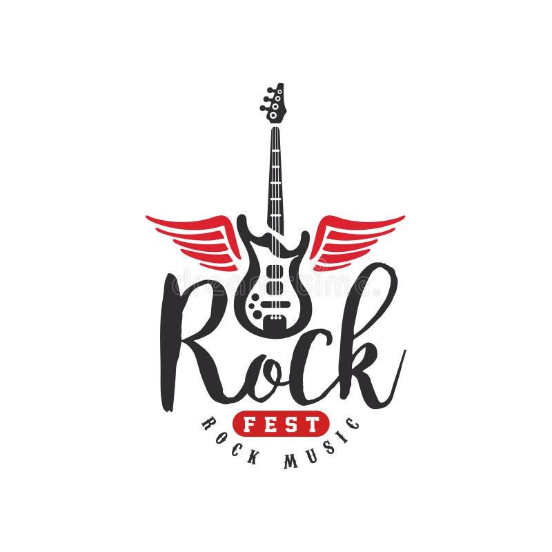 Le logo de fest de musique rock, emblème pour le festival de roche, partie de guitare, représentation musicale, élément de concep illustration de vecteur