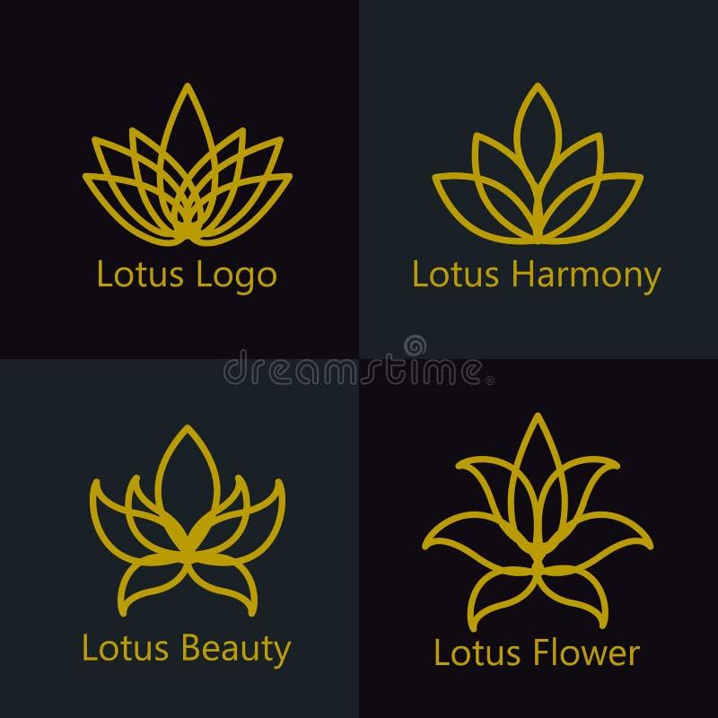 Le logo de fleur de Lotus a assorti des icônes réglées illustration de vecteur