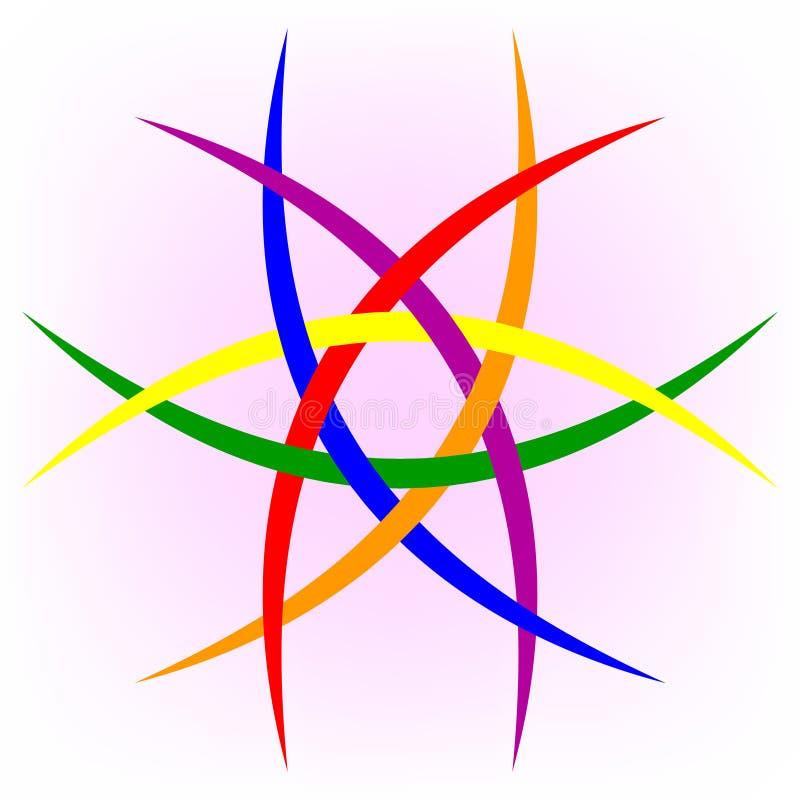 Le logo de la communauté de LGBT pour la lesbienne, l'homosexuel, bisexuel, et transsexuel, dirigent le modèle circulaire de six  illustration de vecteur