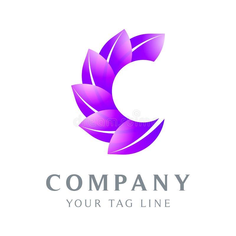 Le logo de la lettre C est feuille formée, en vert illustration stock