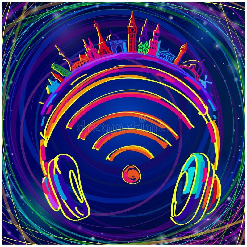 Le logo de la station de radio a assorti des couleurs illustration de vecteur