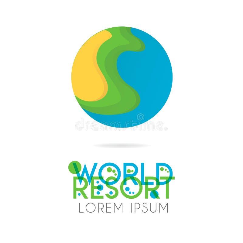Le logo de la terre est posé avec la couleur orange, verte, bleue avec la version à 0 2 illustration stock