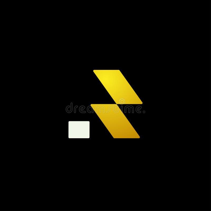 le logo de luxe de r avec l'élément de vecteur de couleur d'or a isolé illustration stock