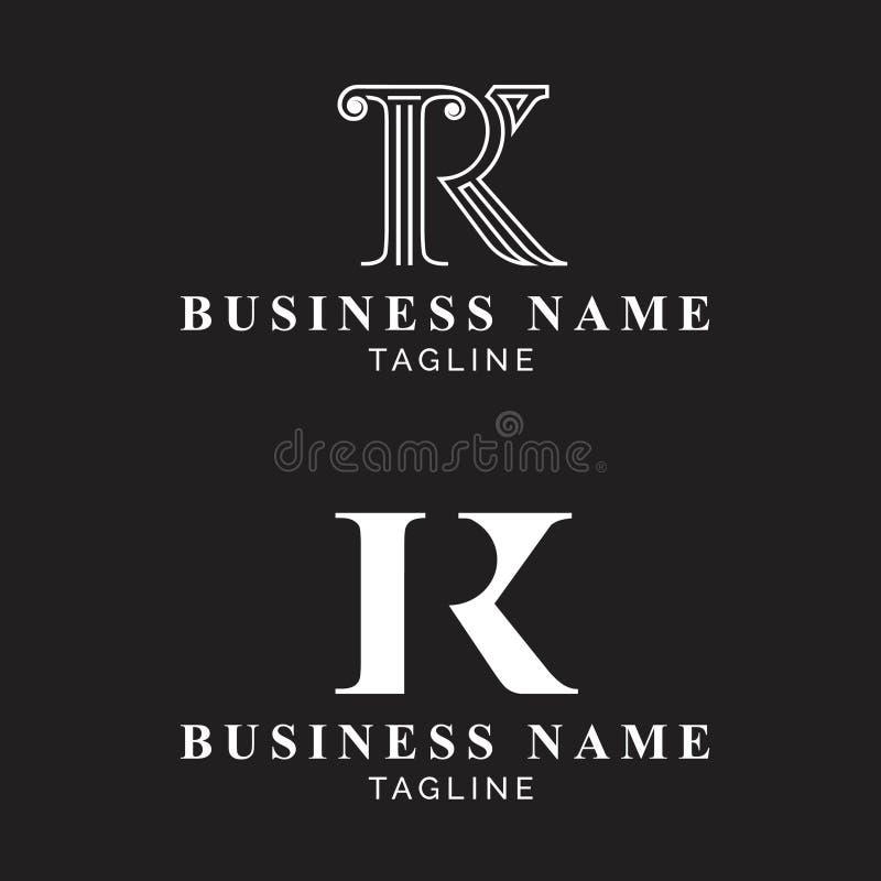 Le logo de monogramme de RK ou de Kr a placé des logos de luxe illustration de vecteur