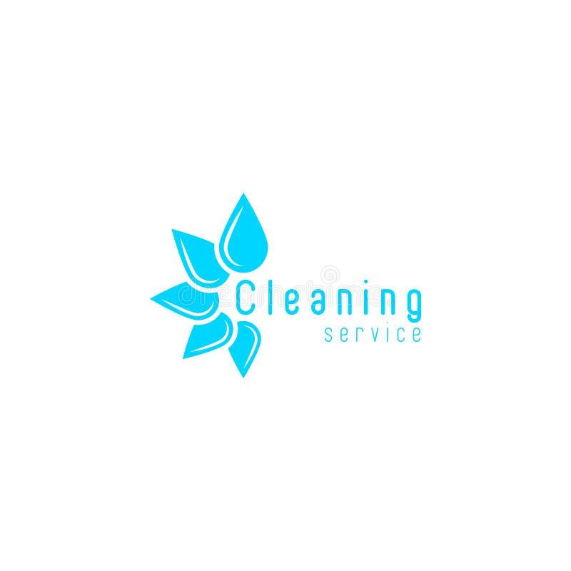 Le logo de nettoyage de service, eau douce bleue laisse tomber la disposition en cercle, icône à la maison propre illustration libre de droits