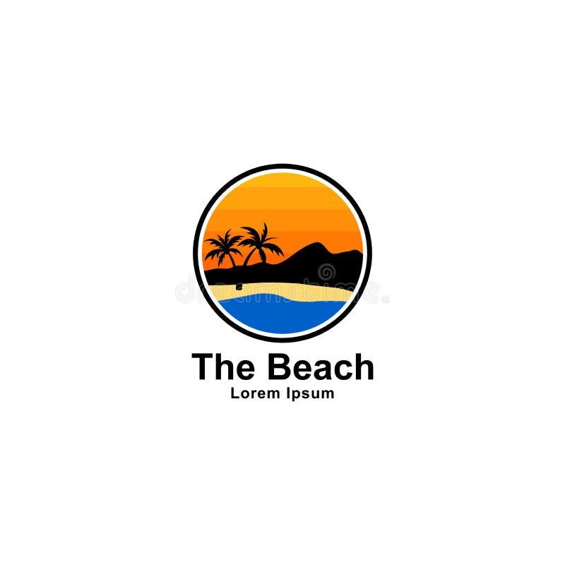 Le logo de plage et d'île conçoivent, emboutissent la conception avec des couleurs lumineuses illustration libre de droits