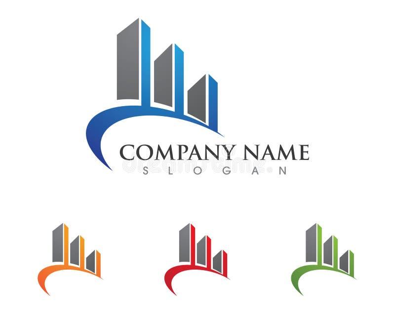 Le logo de propriété et de construction conçoivent pour des sig d'entreprise d'affaires illustration de vecteur