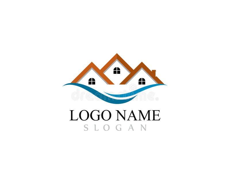 Le logo de Real Estate, de propriété et de construction conçoivent pour le signe d'entreprise d'affaires illustration de vecteur