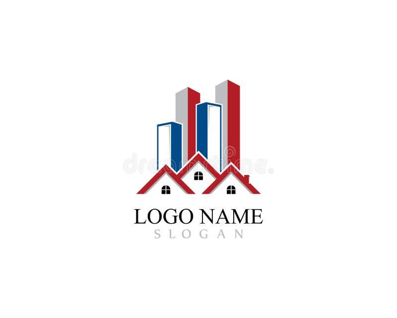 Le logo de Real Estate, de propriété et de construction conçoivent pour le signe d'entreprise d'affaires illustration libre de droits