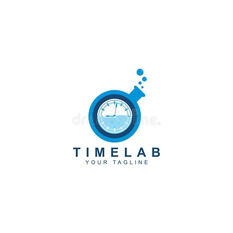 Le logo de temps de laboratoire, le temps d'illustration de l'entrée de laboratoire et la couleur bleue ont isolé le fond blanc illustration de vecteur