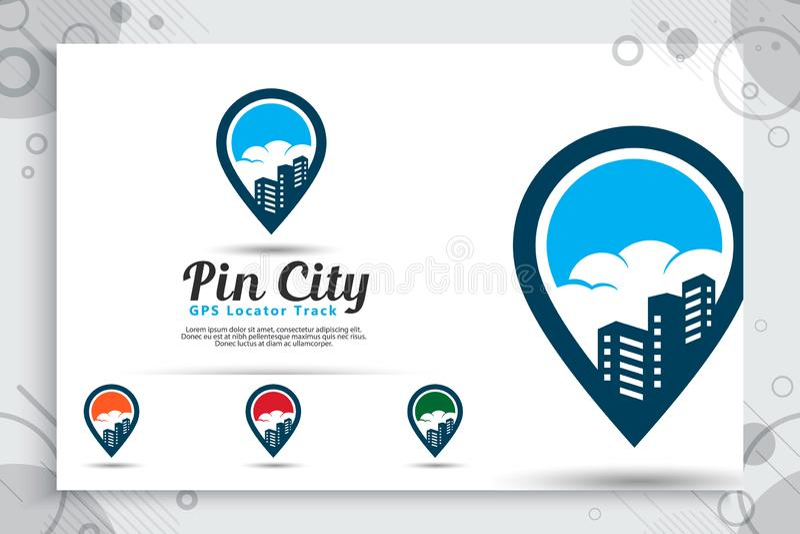 Le logo de vecteur de ville de Pin avec le concept simple de style, la carte de goupille d'illustration et la construction peut e illustration de vecteur