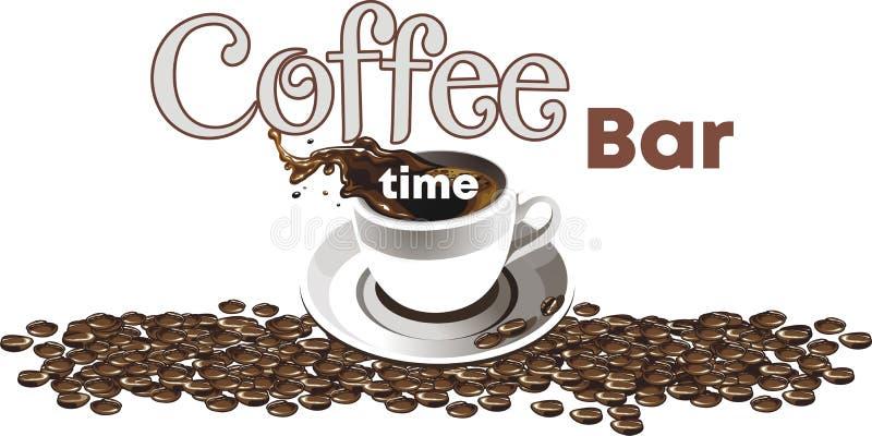 Le logo du café Ensemble réaliste de vecteur d'éléments - fond des grains de café, tasse de café, éclaboussure de café illustration stock