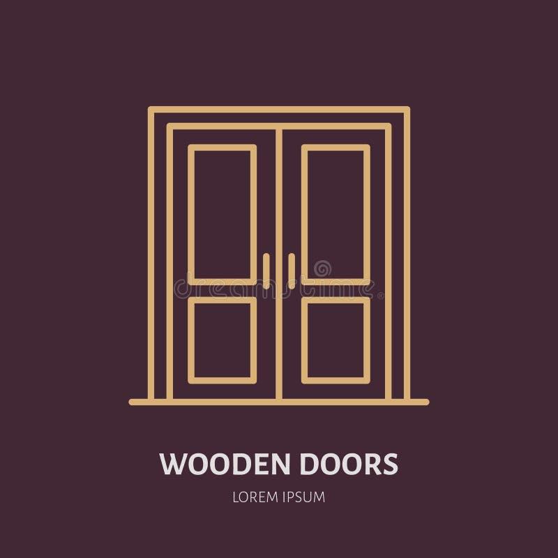 Le logo en bois d'installation de portes, réparent la ligne plate icône illustration de vecteur