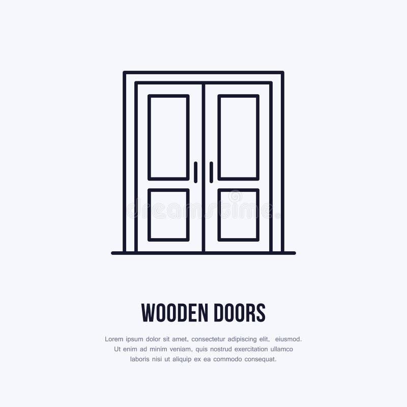 Le logo en bois d'installation de portes, réparent la ligne plate icône Signe linéaire mince de conception intérieure pour la bou illustration de vecteur