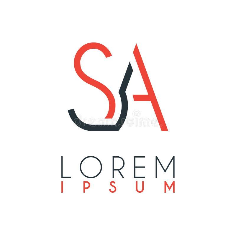 Le logo entre la lettre S et marquent avec des lettres A ou SA avec une certaine distance et reliée par couleur orange et grise illustration libre de droits