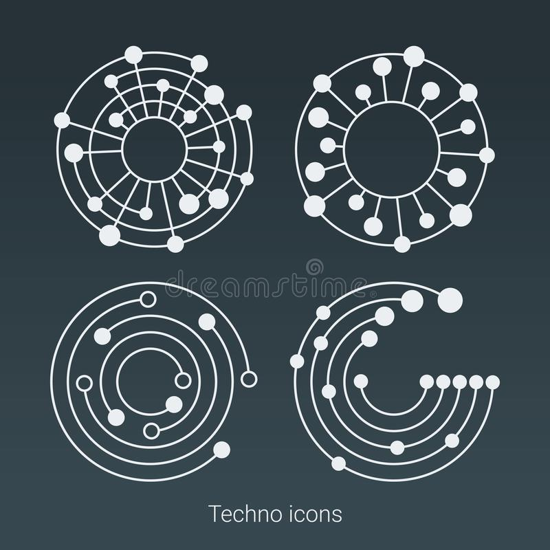 Le logo, l'ordinateur et les données de technologie ont rapporté des affaires, de pointe et innovateur Structure de connexion Gra illustration de vecteur