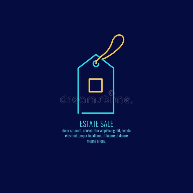 Le logo linéaire en vente des immobiliers sur un fond foncé illustration de vecteur