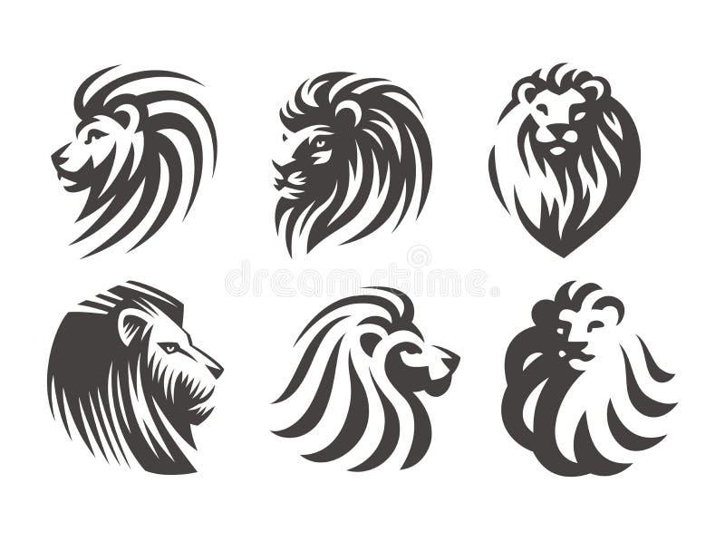 Le logo principal de lion - dirigez l'illustration, conception d'emblème illustration de vecteur