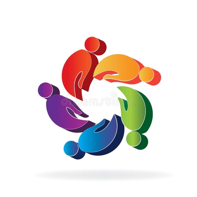 Le logo remet des personnes du travail d'équipe 3D dans un vecteur d'icône de forme de cercle illustration de vecteur