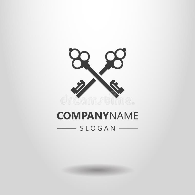 Le logo simple de vecteur de deux a croisé de rétros clés de style illustration libre de droits