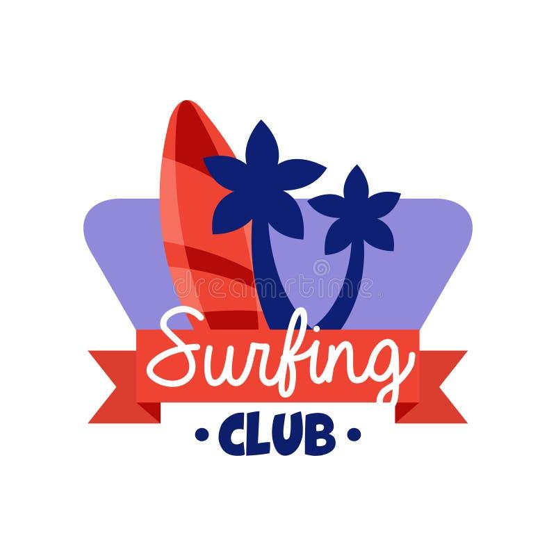 Le logo surfant de club, rétro insigne pour l'école de ressac, repos de plage, sports aquatiques d'été dirigent l'illustration illustration de vecteur