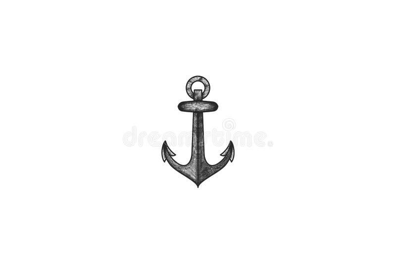 le logo tiré par la main d'ancre conçoit l'inspiration d'isolement sur le fond blanc illustration de vecteur